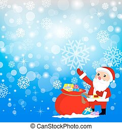 Santa Claus with Christmas Gifts and Background