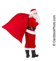 Santa Claus with Christmas gifts bag isolated on white background