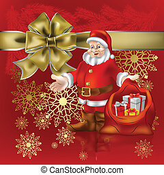 Santa Claus with christmas gifts on red background