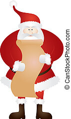 Santa Claus with Christmas List Illustration