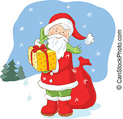 Santa Claus with Christmas present