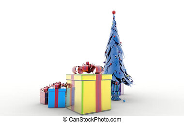 Santa Claus with Christmas tree. Isolated object on white background.