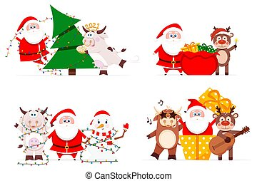 Santa Claus with cute animals have fun for Christmas