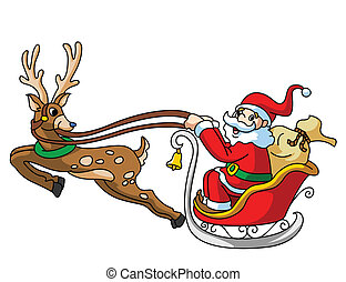 Santa Claus With Deer and Gift