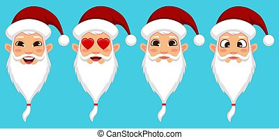 Santa Claus with different facial expressions set
