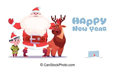 Santa Claus With Elfs On Happy New Year Greeting Card Merry Christmas Holiday Concept