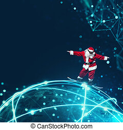 Santa Claus with fast internet - Modern and technological...