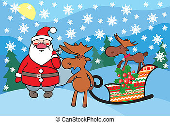Santa Claus with funny deers.