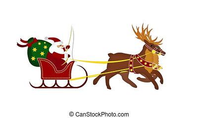 Santa claus with galoping reindeers