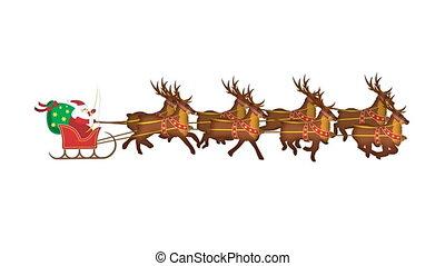 Santa claus with galoping reindeers in loop