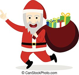 Santa claus with gift bag in flat style, vector