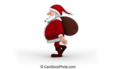 Santa Claus with gift bag walking