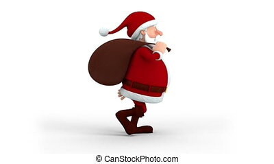 Santa Claus with gift bag walking - Cartoon Santa Claus with...
