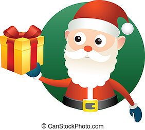 Santa Claus with gift box