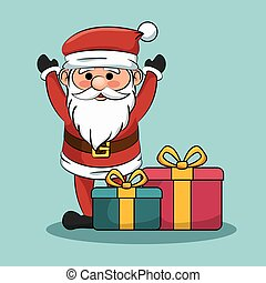 santa claus with gift boxes christmas design
