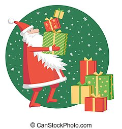 Santa Claus with gift boxes.