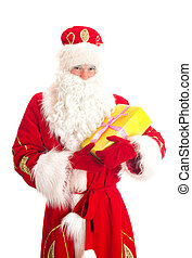 Santa Claus with gift. Isolated on white.