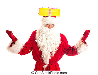Santa Claus with gift on his head. Isolated on white.