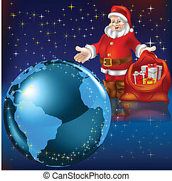 Santa Claus with gifts and earth