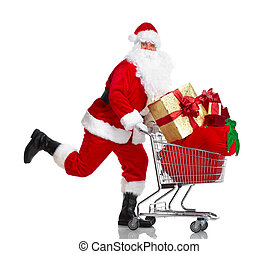 Santa Claus with gifts and shopping trolley. - Happy running...