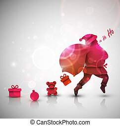 Santa Claus with gifts, Christmas background, eps 10