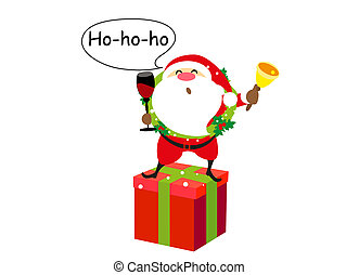 Santa Claus with gifts, Christmas, on a white
