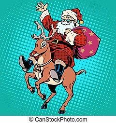 Santa Claus with gifts Christmas reindeer Rudolf. Retro ...