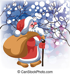 Santa Claus with gifts in snow fore