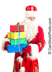 Santa Claus with gifts. Isolated on white.