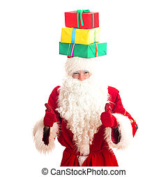 Santa Claus with gifts on his head. Isolated on white.