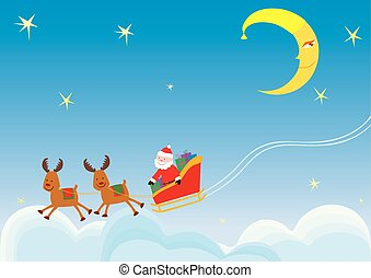 Santa Claus with gifts rides in the night sky