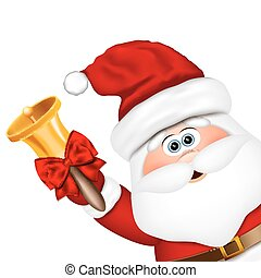 Santa Claus with gold christmas bell