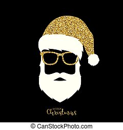 Santa Claus with hat and glasses.