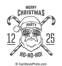 Santa Claus with hipster glasses and candy cones print...