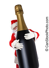 Santa Claus with his arms wrapped around a giant bottle of Champagne, isolated on white.