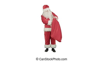 Santa Claus with his sack of lots of presents on white background