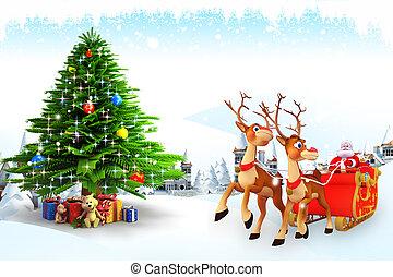 santa claus with his sleigh