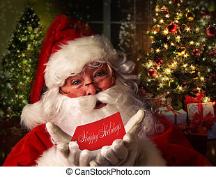 Santa Claus with holiday background - Santa Claus with...