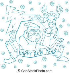 Santa Claus with Label for your design. Vector