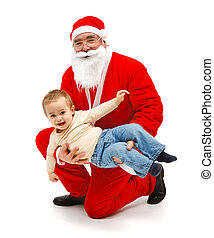 Santa Claus with little boy