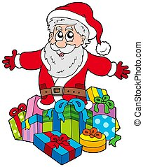 Santa Claus with pile of gifts - isolated illustration.