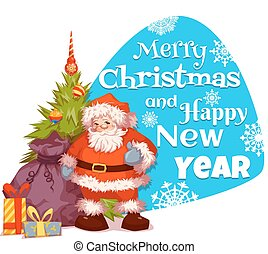 Santa Claus with pine and gifts. Merry Christmas. Vector. Poster