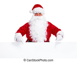 Santa Claus with poster. - Happy Santa Claus with christmas...