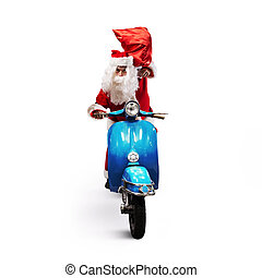 Santa Claus with red bag of presents on a motorcycle to...