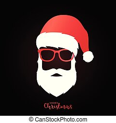 Santa Claus with red hat and glasses on black background.
