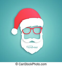 Santa Claus with red hat and glasses on blue background.