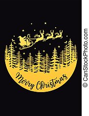 Santa Claus with reindeer and sleigh, gold vector Christmas card