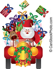 Santa Claus with Reindeer Driving Illustration