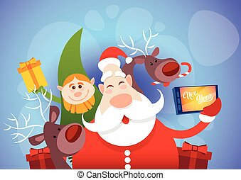 Santa Claus With Reindeer Elfs Making Selfie Photo, New Year...
