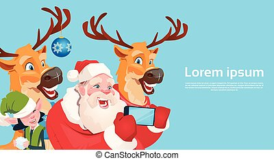 Santa Claus With Reindeer Elfs Making Selfie Photo, New Year Christmas Holiday Greeting Card